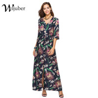 Weljuber Women Bohemian Split Dress 2018 Boho Maxi Dresses Flower Print Beach Loose Vintage High Quality