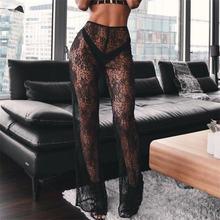 Женские кружевные прозрачные длинные пляжные брюки с широкими