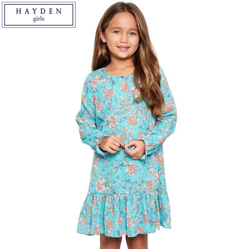 HAYDEN Teen Kids Long Sleeves Dress for Girls 12 Years Flower Print Ruffle Girl Dresses Chiffon Fall Spring 2017 New Arrival