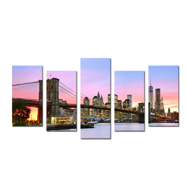 broooklyn bridge night view panoramic modern landscape artwork