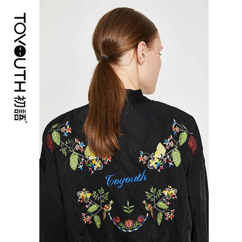 Toyouth Black Embroidery Short Jackets Loose Woman Casual Jackets Female Vintage Women Winter Coat Zipper Jacket