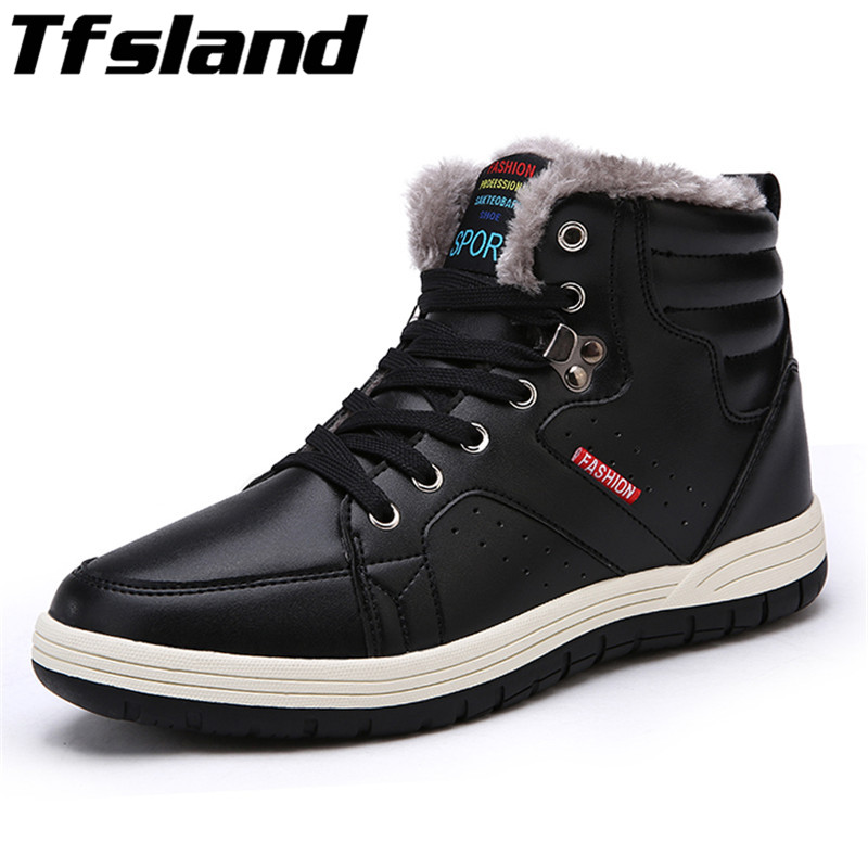 2018 Mens Warm Winter Plush Ankle Boots Male Cashmere Lace Up Waterproof Snow Boots New Walking Shoes Sneakers Large Size 39-48