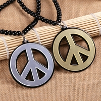 Fashion Jewelry Hiphop Style Wholesale Price Mens Cheap Charm Necklace Jewlery Acrylic Peace Sign Logo Pendant
