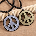 Fashion Jewelry Hiphop Style Wholesale Price Mens Cheap Charm Necklace Jewlery Acrylic Peace Sign Logo Pendant Necklace