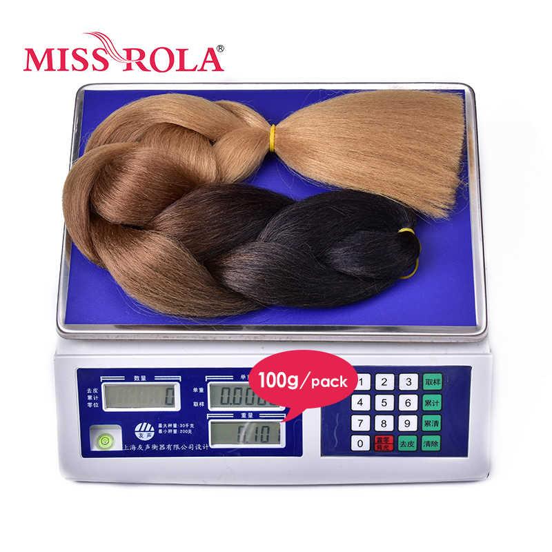 Miss Rola 100G 24 Inch Enkele Ombre Kleur Groen Roze Geel Blonde Synthetisch Haar Uitbreiding Twist Jumbo Vlechten Kanekalon haar