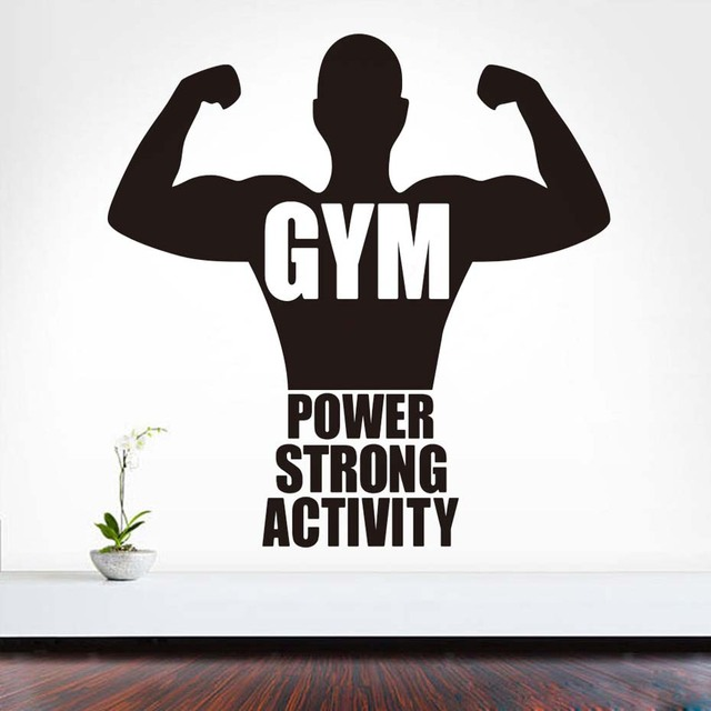 Sports Gym Art Vinyl Decal Muscled Strongman Fitness Power Strong  Motivation Quotes Gym Self Adhesive Bedrooms