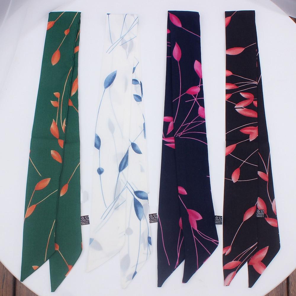 2019 Twill Narrow Long Scarf Fashion Woman Tie Bag Handle Ribbon Hairband Shawl Scarf Headscarf Skinny Scarves Small Silk Scarf