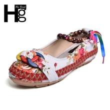 Hee Grand/большой размер 35–42 традиционные женская повседневная обувь Винтажные ткани Уникальный Дизайн лодыжки бисером Slip-On Loafers XWD5582