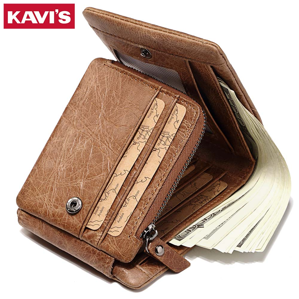 KAVIS Trifold Crazy Horse Genuine Leather Wallet Men Walet Portomonee PORTFOLIO Coin Purse Money Bag Magic Vallet Card Holder document for passport badge credit business card holder fashion men wallet male purse coin perse walet cuzdan vallet money bag