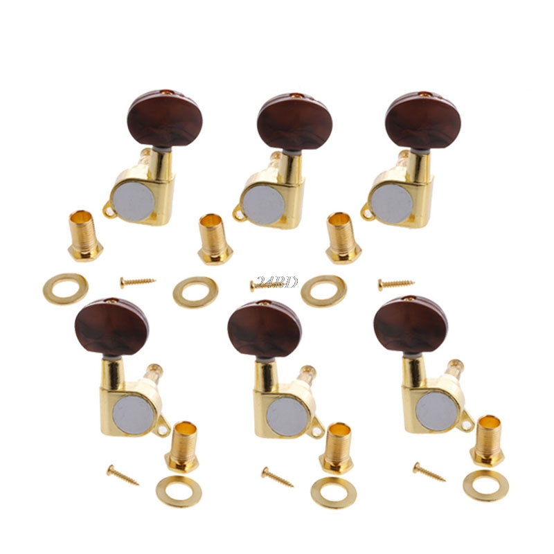 Guitar String Tuning Pegs Tuners Machine Heads Red Pearl Knob Enclosed Acoustic M08
