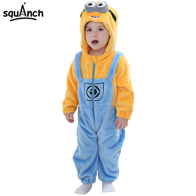 Minions Kugurumi Onesie Baby Boy Girl Good Quality Flannel Pajama Winter Sleepwear Child Kid Funny Cartoon Anime Party Game Suit