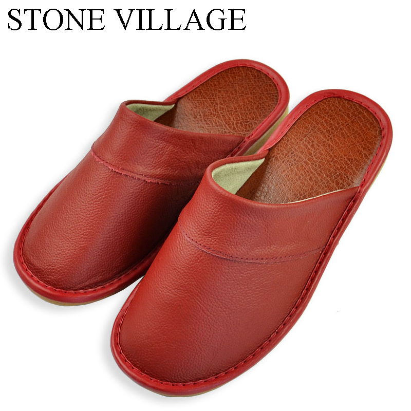 STONE VILLAGE Genuine Leather Home Slippers Women Slippers Indoor Shoes Women Leather Flat with Sandals Lady Casual Summer Shoes
