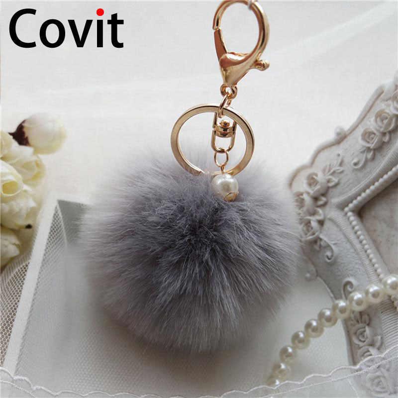 Covit Super Fofo Mulheres Keychain Chave Anéis Da Cadeia de Bola De Pêlo Pompom Bonito Ornamentos Pingente Carro Acessórios Saco de presente de Natal