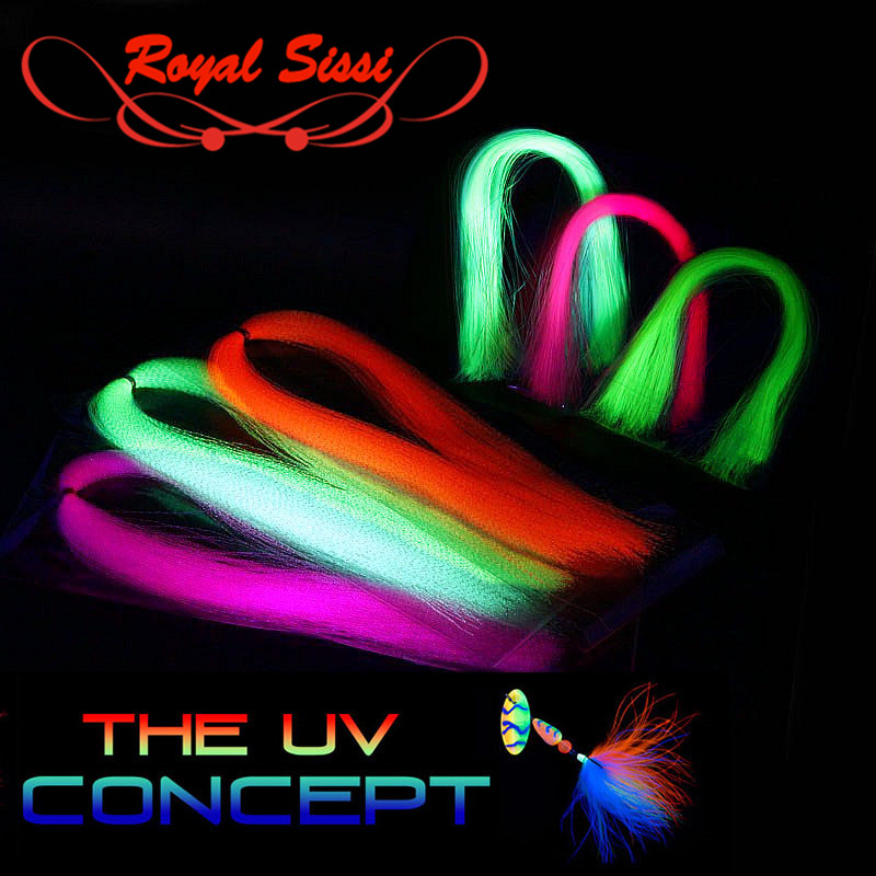 Hot 6packs/set UV Fluo Flashabou Tinsel Twist Type Or Flat Type UV Hue Tinsels Synthetic Tying Material For Steelhead Streamers