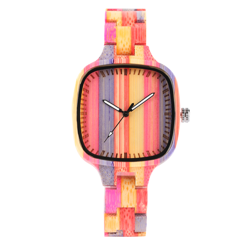 Unique Colorful Bamboo Wooden Wrist Watch Women Creative Suqare Pink Stripe Fold Clasp Wood Watch Band Quartz Novel Watches Gift green face bamboo gift new arrival handmade nature wood bangle simple men hot casual women wrist watch modern novel fold clasp