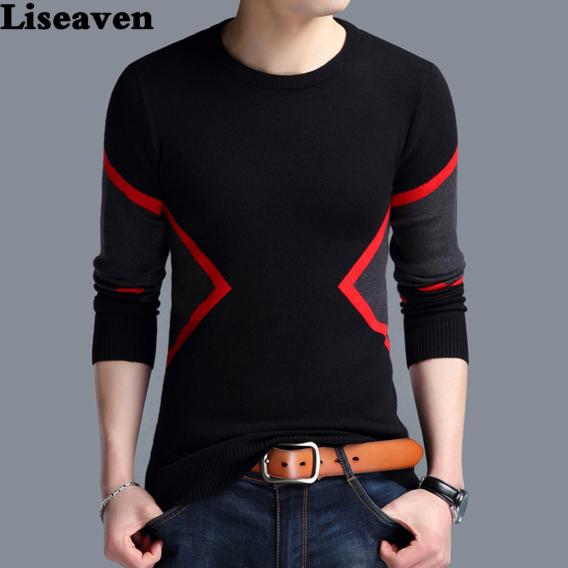 Liseaven Men Christmas Sweaters Warm Knitted Cashmere Sweater Casual O-Neck Pullover Men Pull Homme