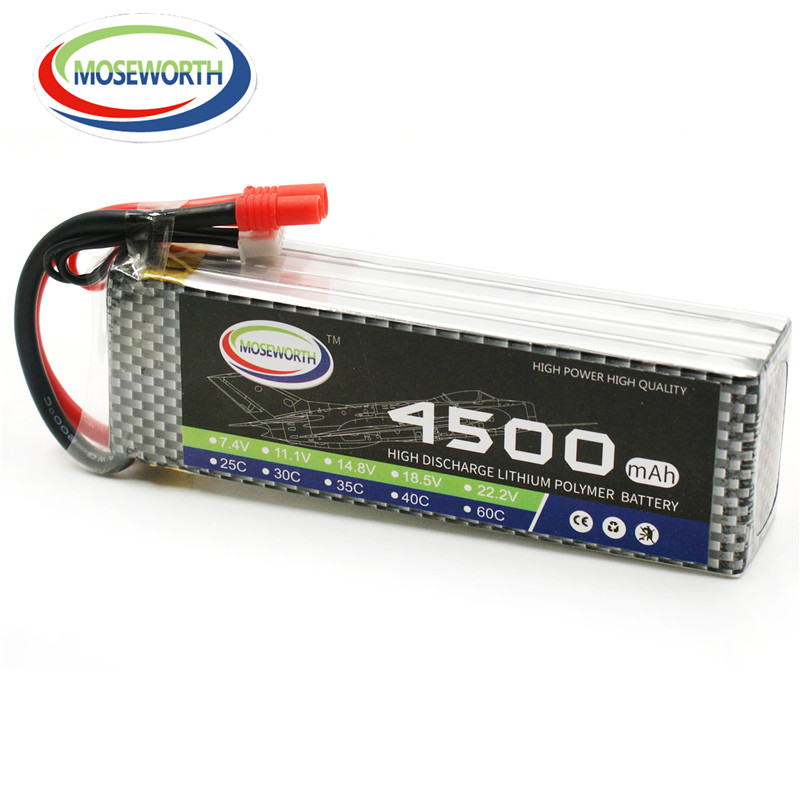 MOSEWORTH New Original Reachargeable LiPo Battery Power 14.8V 4500mAh 40C 2s for RC Aircraft Quadcopter Helicopter Drone models 3pcs battery and european regulation charger with 1 cable 3 line for mjx b3 helicopter 7 4v 1800mah 25c aircraft parts