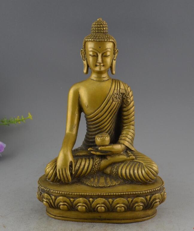 Tibet Buddhism Brass Medicine Buddha Dragon Robe Sakyamuni StatueTibet Buddhism Brass Medicine Buddha Dragon Robe Sakyamuni Statue