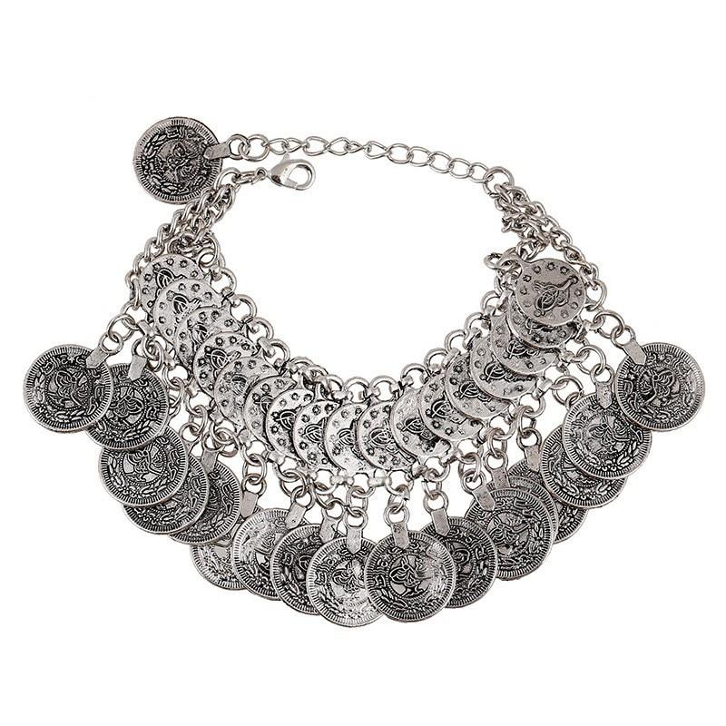 Bohemian Antalya Carved Coin Tassel Statement Bracelet Silver Gypsy Boho Coachella Festival Turkish Tribal Ethnic Jewelry