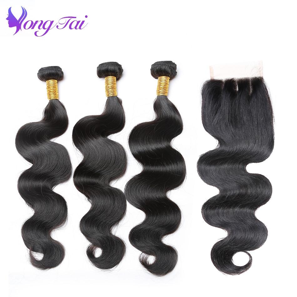 Yuyongtai Hair Indian Hair Body Wave Bundles With Closure 100 Human Hair 4pcs Customized 10 26inch