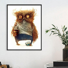 High Quality 5D Diamond Painting Resin 35X35cm Europe Mosaic Owl Needlework Embroidery Home Decor