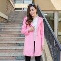 2016 Spring Fashion Elegant Women Coat Large Hat Woolen outerwear Female Medium-long plus size Loose Long-sleeve Woolen Overcoat