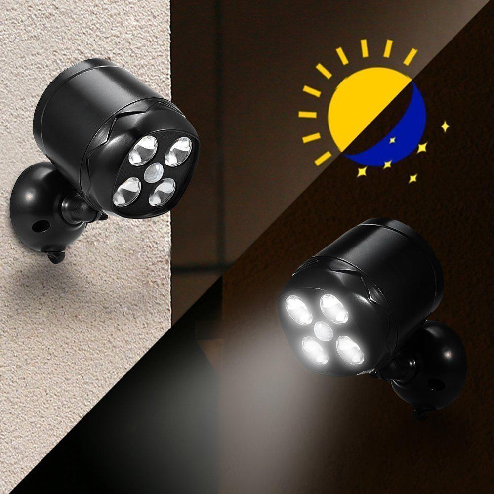 4 LED Motion Sensor Spotlight 600Lumen Weatherproof Wireless Security Wall Light