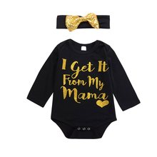 NewBorn Infant Kid Baby Girls Meisje Romper Letter Print Mama Jumpsuit Headband Outfit Black Clothes(China)