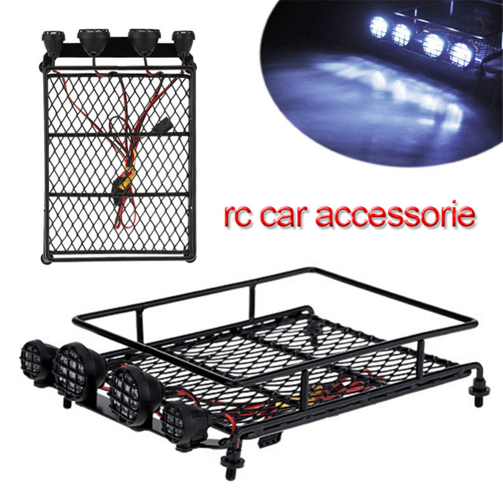 1:10 / 1:8 1:9 ROCK CRAWLER Accessories Model Car Luggage Carrier Baggage Rack Roll Cage With Lights partol universal car roof rack cross bars crossbars with anti theft lock 60kg 132lbs cargo basket carrier snowboard luggage top