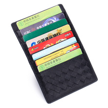 Travel Thin Credit Card Holder Women Wallets Mini Braiding Clip Real Leather Sheepskin Soft ID Black Luxurious Design