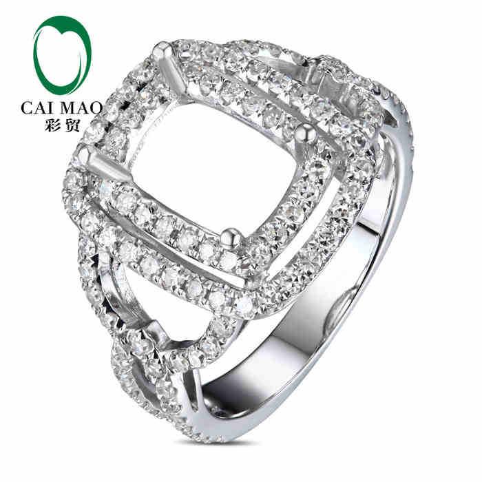 CaiMao Emerald cut Semi Mount Ring Settings & 0.85ct Diamond 18k White Gold Gemstone Engagement Ring Fine JewelryCaiMao Emerald cut Semi Mount Ring Settings & 0.85ct Diamond 18k White Gold Gemstone Engagement Ring Fine Jewelry