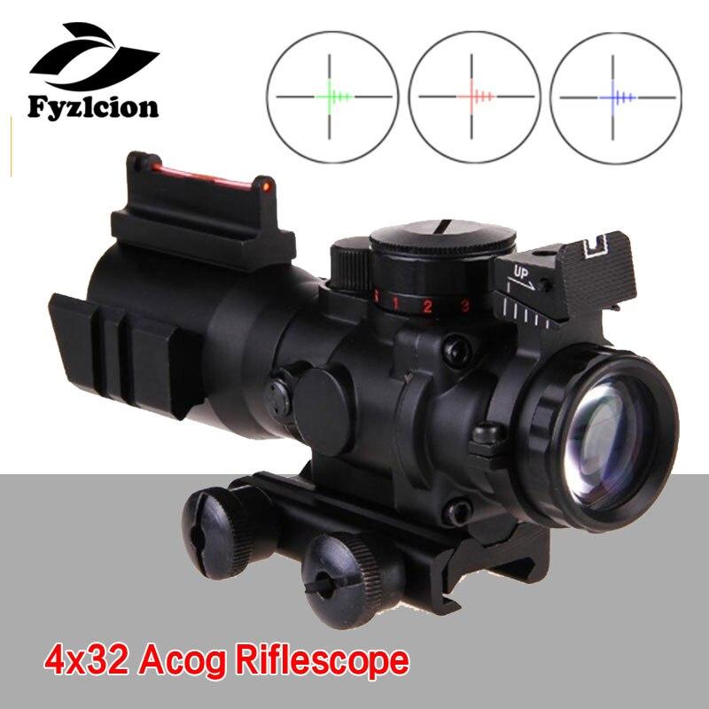 Sniper loupe 4x32 Acog fusil portée 20mm queue d'aronde Reflex optique portée tactique vue pour chasse fusil Airsoft
