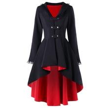 CharMma 2017 Autumn Winter Coat Women Back Lace Up High Low Gothic Coat Trench Back Cross Bandage V-Neck Long Coat Outwear