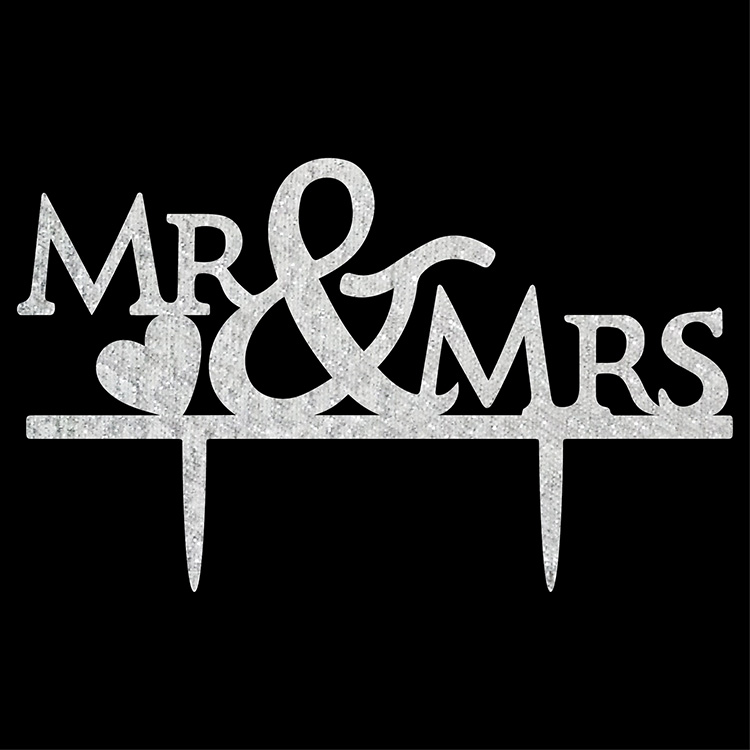 Mr & Mrs Love You & Me Mrs & Mrs Acrylic Cake Flaggor Fall In Love - Semester och fester - Foto 5