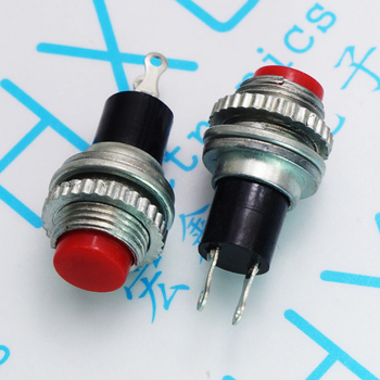 100pcs/lot DS314 red circle button reset switch point switch without lock mounting hole 10mm