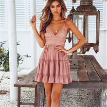 Adogirl S-5XL Lace Patchwork Spaghetti Straps Dress Women Sexy V Neck Bow Tie Backless Sweet Flare Mini Casual Dresses