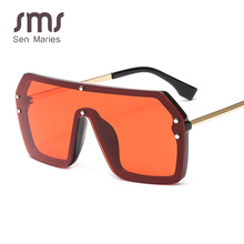 New Oversized Siamese Square Sunglasses Women Mirror Shade V