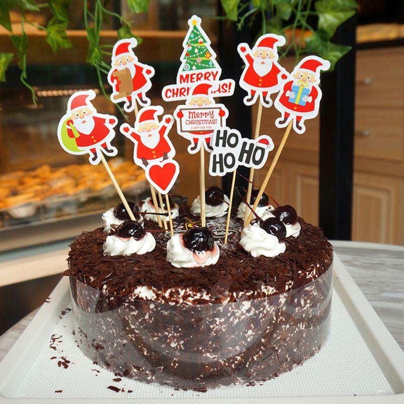9Pcs Christmas DIY Cake Topper Flag Cupcake Insert Card ...