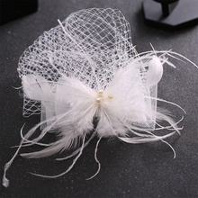 Trendy Women Pearl Veil tiara White Feather Bride Hair Accessories Wedding Party Hairband Haipins Headpiece Hair Jewelry FD001