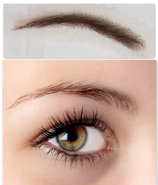 New Arrival Long-lasting Easy To Wear 2016 Promotion Real Sobrancelha 2pcs( 1pair )/lot Color Fake Eyebrow False Brow