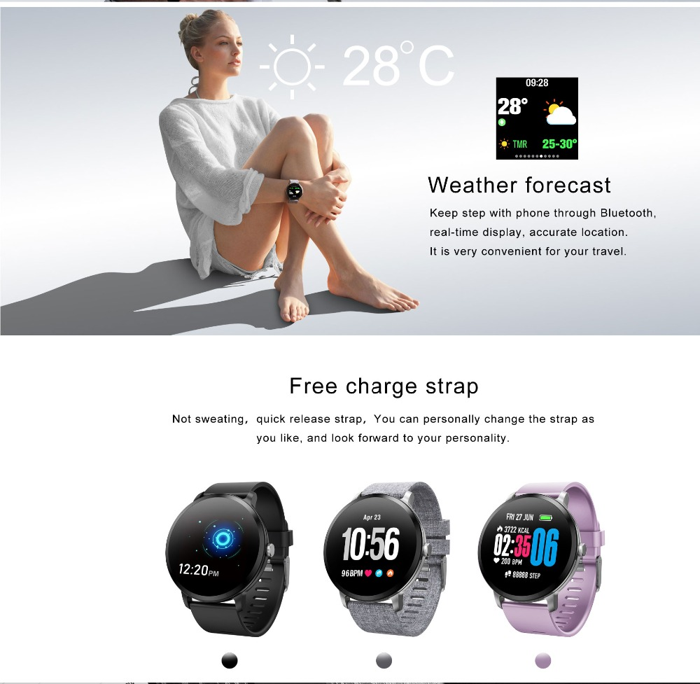 Fentorn V11 Smart watch IP67 waterproof Tempered glass Activity Fitness tracker Heart rate Blood Pressure Men women smartwatch 17