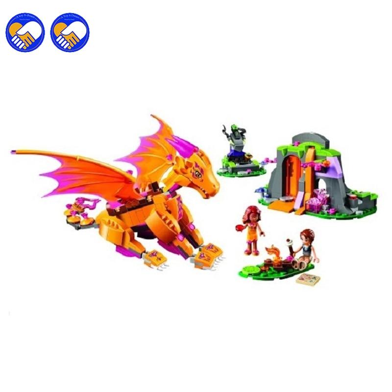 A toy A dream 2016 NEW Bela 10503 Elves Fire Dragon s Lava Cave 446pcs set