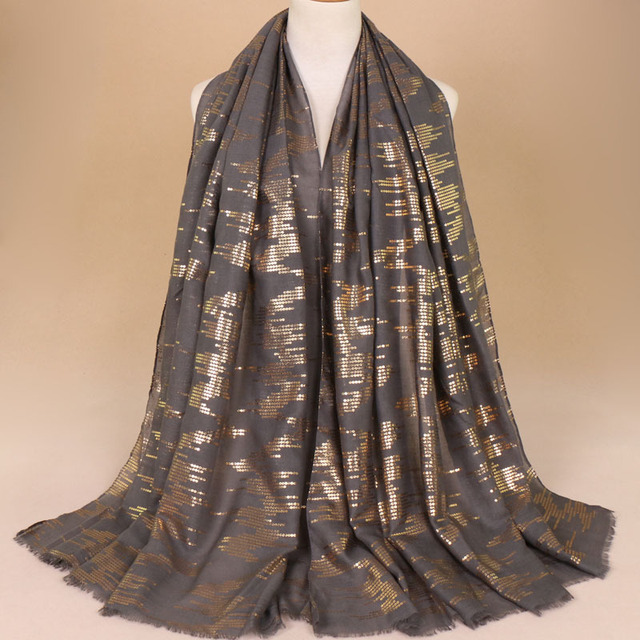 35a3abcf2e3 New Women Scarf Scarves Noble Sequins Wrap Pashmina Cotton Shawls Shawl Big  Size 90x180cm Solid Color Mujer Bufanda Echarpes