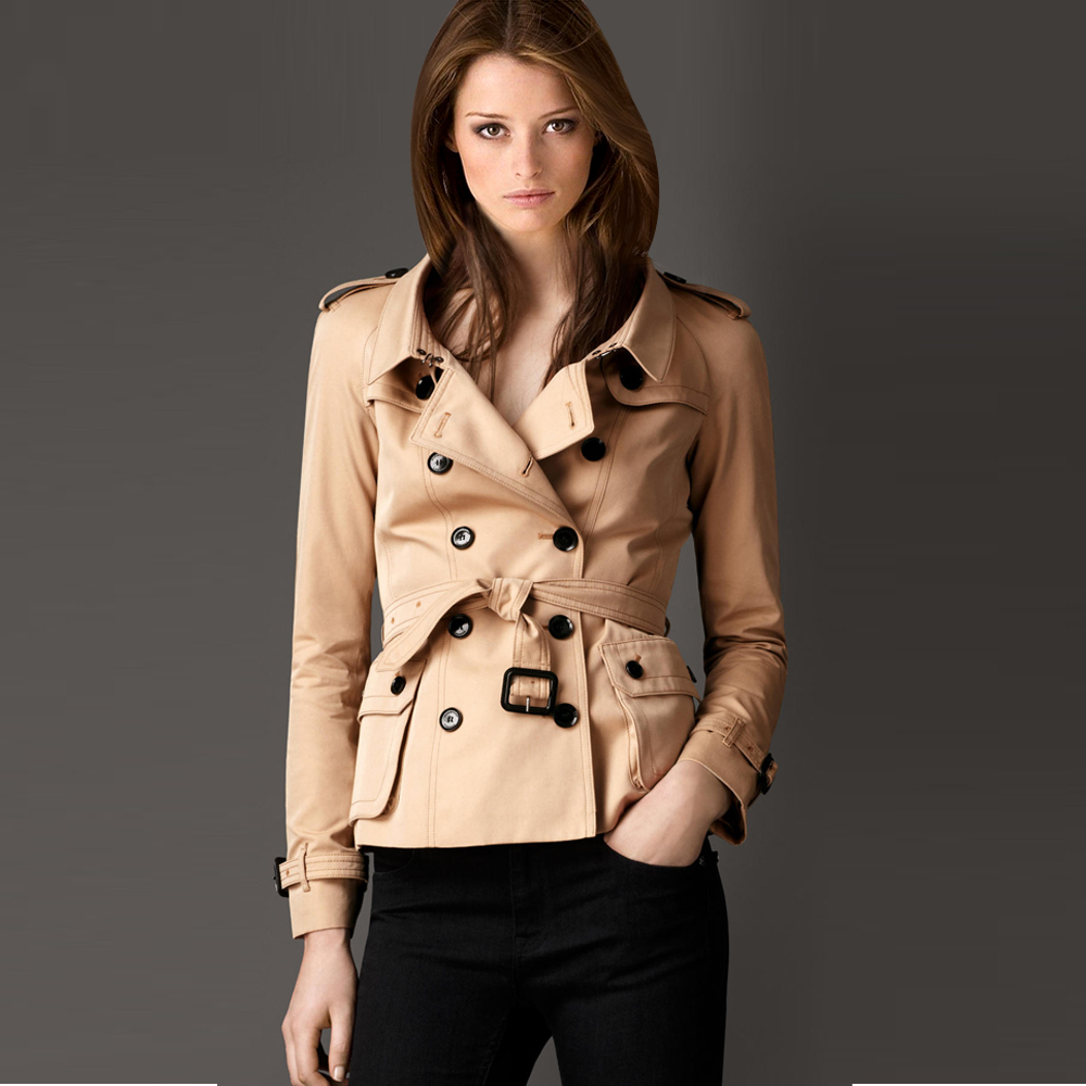 2014New fashion women trench coat spring and autumn Short double ...