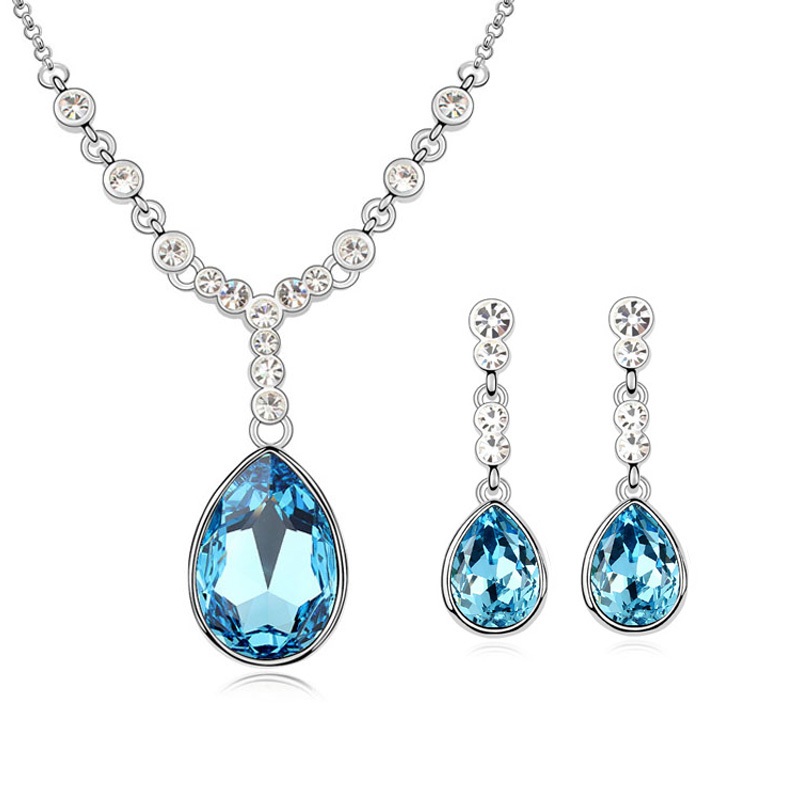 Baffin Hot Water Drop Crystal From SWAROVSKI Fashion Maxi Pendant Necklace Dangle Earrings For Women Wedding Party Jewelry Sets water drop jewelry sets for women fashion jewellery nature stone with crytal glass stud earrings and pendant necklace of party
