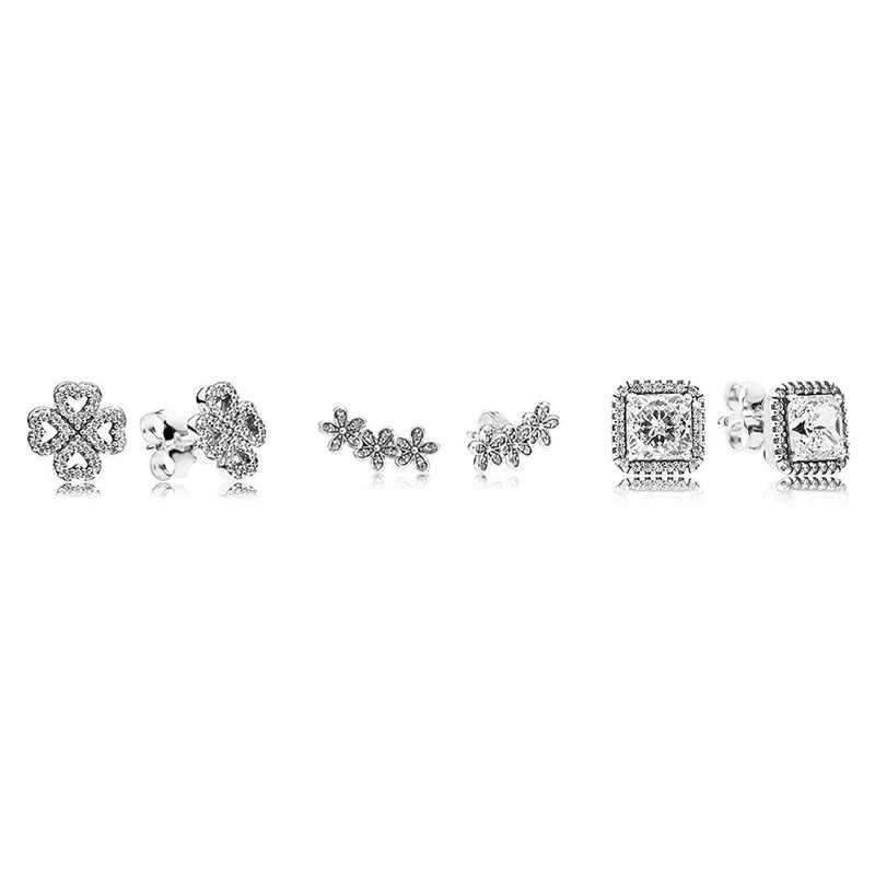 3 Style Silver With Silver Color Crystal Clover Flower Square Studs Earrings For Women Wedding Party Jewelry