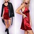 Celmia 2016 atractiva de las mujeres mini discoteca fiesta dress v cuello slik satén backless slip dress vestidos halter party queen mini dress
