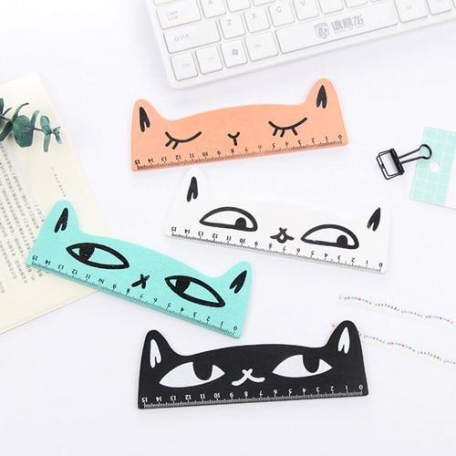 1PC/lot Kawaii cat design ruler Funny stationery wooden rulers Office accessories School escolar kids study supplies(tt-2835)