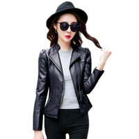 Women Autumn Winter PU Leather Casual Short Washed Coat Ladies Stand Collar Bomber Faux Leather Jacket Outwear Big Size 3XL O438