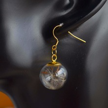 a Pair Dandelion Seed Real Flower Make A Wish Gold Color Copper Drop Earrings For Women Vintage Fashion Jewelry Korean Bohemian